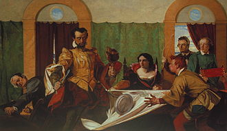 Taming of the Shrew by Augustus Egg (1860). Taming of the shrew.jpg