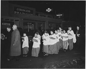 Taos County, New Mexico. Fiesta of Guadalipe, Taos. Following vespers, congregation leaves church, . . . - NARA - 521956.jpg