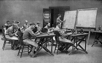 Military science - CLASS IN TELEPHONY: ENLISTED MEN, U. S. ARMY. The  telephone in modern warfare has robbed battle of much of its picturesqueness, romance, and glamor; as the dashing dispatch rider on his foam-flecked steed is antiquated. A message sent by telephone annihilates space and time, whereas the dispatch rider would, in most cases, be annihilated by shrapnel. Published 1917.