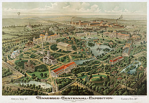 Tennessee Centennial and International Exposition - Bird's-eye view of the expo grounds. Chromolithograph by The Henderson Litho Co., 1896.