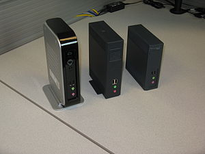 Teradici - Front shot Teradici PCoIP zero clients.  From left to right Tera1, Tera2 (four ports) and Tera2 (two ports)
