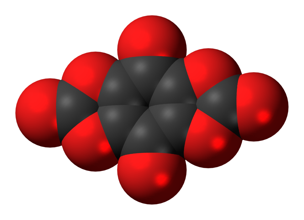 Space-filling model of the tetrahydroxybenzoquinone biscarbonate molecule