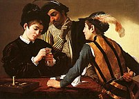 The Cardsharps, c. 1594, by Michelangelo Meris...