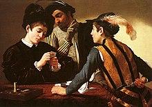 Tableau montrant trois joueurs de cartes, tous trois en train de tricher.