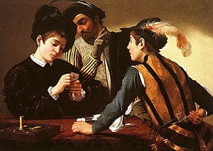 Card sharp - The Cardsharps (ca. 1594) by Caravaggio.
