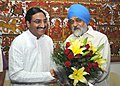 The Chief Minister of Uttrakhand, Shri Ramesh Pokhriyal meeting the Deputy Chairman, Planning Commission, Shri Montek Singh Ahluwalia to finalize Annual Plan 2010-11 of the State, in New Delhi on June 14, 2010.jpg