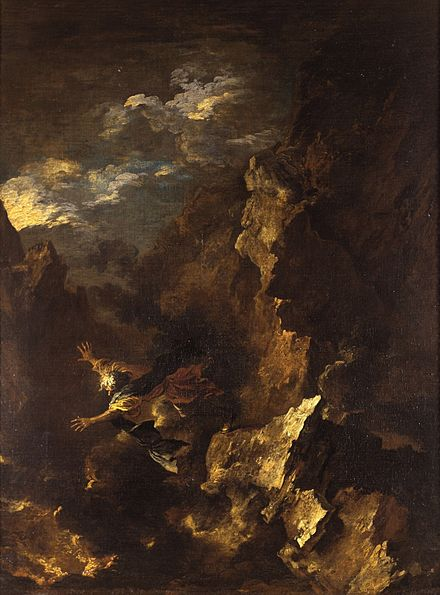 The Death of Empedocles by Salvator Rosa (1615 - 1673), depicting the legendary alleged suicide of Empedocles jumping into Mount Etna in Sicily The Death of Empedocles by Salvator Rosa.jpg
