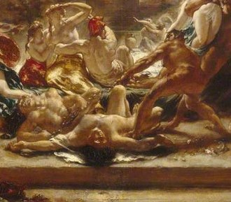The Destroying Angel and Daemons of Evil Interrupting the Orgies of the Vicious and Intemperate - A daemon drags a chained and writhing lunatic across the body of a gambler, while startled figures in the background turn to see the destruction.