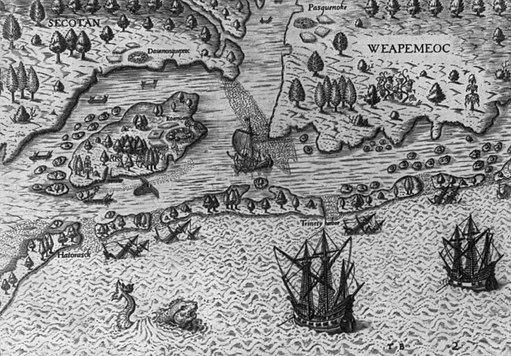 The Englishmen's arrival in Virginia (1590)