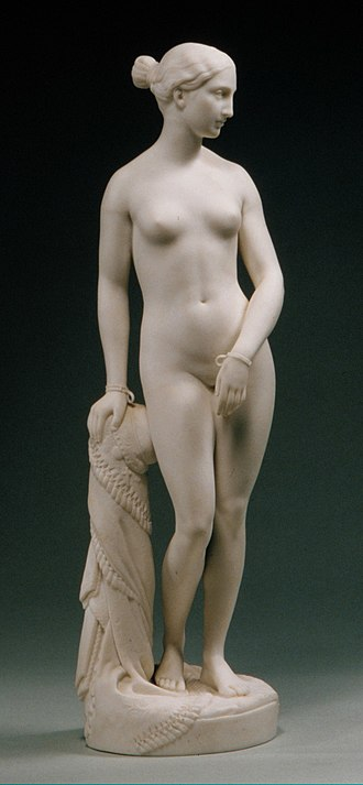 Mintons - Copy in Parian ware of Hiram Powers' hit sculpture The Greek Slave, 1849. 14 1/2 inches high, where the original was life-size.