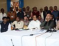 The Minister of State for Information and Broadcasting, Shri Chowdhury Mohan Jatua briefing the media persons, at Gangasagar Mela ground, in West Bengal on January 15, 2012.jpg