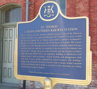 Canada Southern Railway Station - The Ontario Heritage Trust Plaque presented June 17, 2011