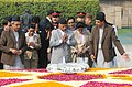 The President of Nepal, Dr. Ram Baran Yadav paying homage at the Samadhi of Mahatma Gandhi, at Rajghat, in Delhi on February 16, 2010.jpg