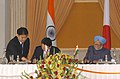 The Prime Minister, Dr. Manmohan Singh and the Prime Minister of Japan, Mr. Yukio Hatoyama signing the Joint Statement, in New Delhi on December 29, 2009.jpg