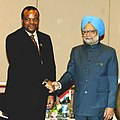 The Prime Minister, Dr. Manmohan Singh with the King of the Kingdom of Swaziland, H.M. Mswati III, in a bilateral meeting, in Addis Ababa, Ethiopia on May 25, 2011.jpg