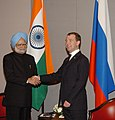 The Prime Minister, Dr. Manmohan Singh with the President of Russia, Mr. Dmitry A. Medvedev, on the sidelines of BRIC and IBSA Summits, in Brasilia, Brazil on April 15, 2010.jpg