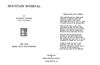 "The Road Not Taken - Cover of Mountain Interval, copyright page, and page containing the poem ""The Road Not Taken"", by Robert Frost"