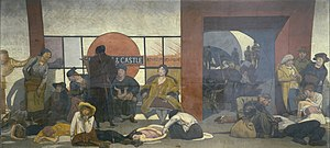 Walter Bayes - The Underworld: Taking cover in a Tube Station during a London air raid (1918) (Art. IWM ART 935)