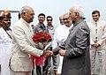 The Vice President, Shri M. Hamid Ansari being bid farewell by the Governor of Bihar, Shri Ram Nath Kovind on his departure, in Patna on June 24, 2016. The Chief Minister of Bihar, Shri Nitish Kumar is also seen.jpg