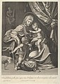 The Virgin seated with the infant Christ on her lap, the young Saint John the Baptist kneeling on Christ's cradle and kissing his foot, a lamb at left, after Reni MET DP841780.jpg