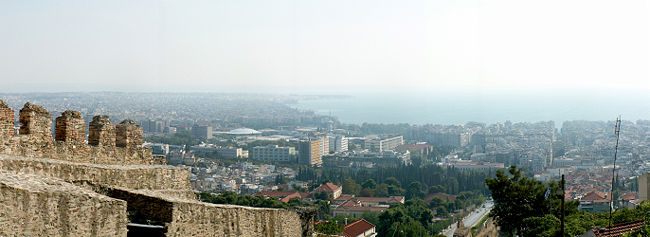 Panoramic View of parts of central and eastern Thessaloniki from the byzantine walls.