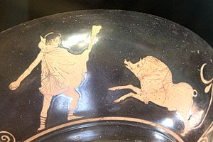 Crommyonian Sow - Theseus fighting against the Crommyonian Sow