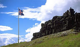 Flag of Iceland - The Icelandic flag in Þingvellir National Park