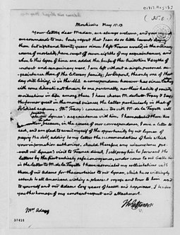 One of last letters sent by Thomas Jefferson at Monticello to Abigail Adams, May 1817 Thomas Jefferson Abigail Adams letter 1817.jpg