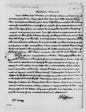 Abigail Adams - One of last letters sent by Thomas Jefferson at Monticello to Abigail Adams, May 1817