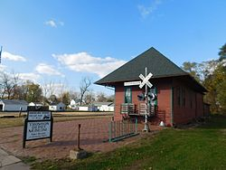 The Chicago, Burlington and Quincy Railroad depot in Thomson in November 2016, serving as a museum.