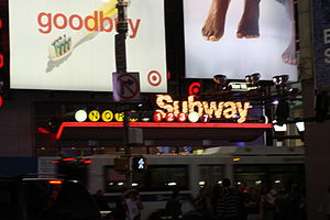Transportation in New York City - Entrance to the Times Square – 42nd Street station on 42nd Street