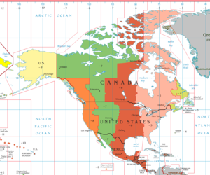 East Coast bias - Time zone map of North America
