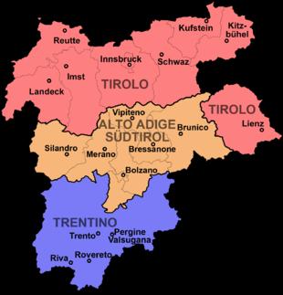 Mappa dell'Euregio Tirolo-Alto Adige-Trentino