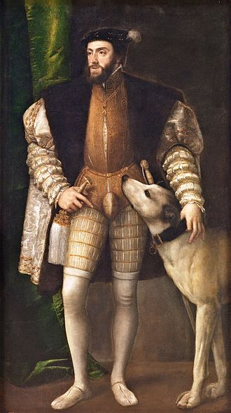 Peascod belly - Image: Titian Charles V Standing with His Dog WGA22946