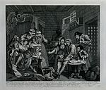 Tom Rakewell in a cell in the Fleet Prison. Engraving by T. Wellcome V0049292.jpg