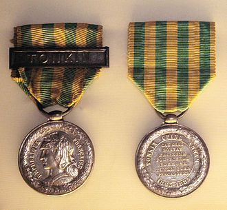 The French Tonkin commemorative medal commemorates several battles of the Sino-French War. Tonkin Medal.jpg