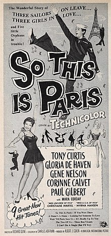Description de l'image Tony Curtis in 'So This is Paris', 1955.jpg.