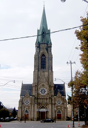 St. Mary's Church, Toronto - Looking west down Adelaide Street to the main facade.