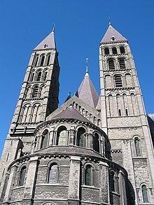 South transept of Tournai Cathedral, Belgium, 12th century.