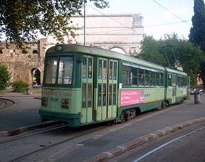 Trams in Rome - Older tram near Porta Maggiore 2010