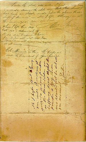 To the People of Texas & All Americans in the World - Both Albert Martin and Launcelot Smithers added postscripts to the back of Travis's letter. The two postscripts are visible in this scan of the document.