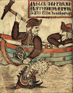 Skald - An early modern depiction of Thor's fight with the World Serpent, the subject of early skaldic verses by Bragi Boddason and Ulfr Uggason.