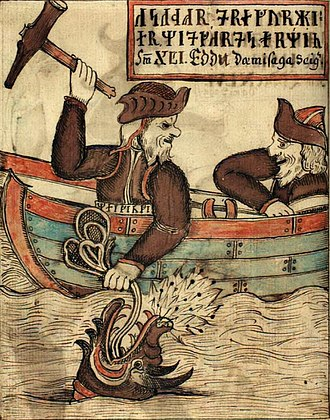 Ragnarsdrápa - One of the decorations on Ragnarr's shield probably showed Thor's fishing trip. This illustration of the scene is from an 18th-century Icelandic manuscript.