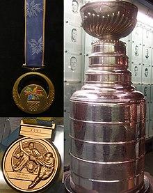 Tři trofeje zlaté medaile z ms a oh a stanley cup
