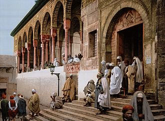 Muslims in Tunis attend the mosque in 1899. Tunis mosque 1899.jpg