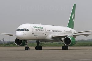 Sri Guru Ram Dass Jee International Airport - A Turkmenistan Airlines Boeing 757-200 on the apron
