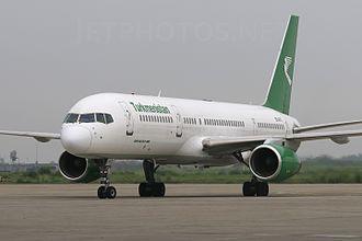 Sri Guru Ram Dass Jee International Airport - A Turkmenistan Airlines Boeing 757-200 on the apron
