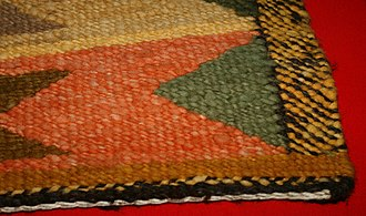 Salish weaving - An example of the twine weave pattern from a blanket in the collection of the Simon Frasier University Museum of Archaeology and Ethnology