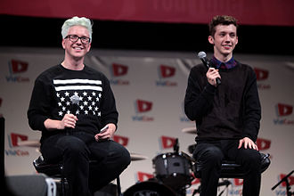 Troye Sivan - Oakley (left) and Sivan speaking at VidCon 2014