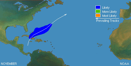 Typical North Atlantic Tropical Cyclone Formation in November